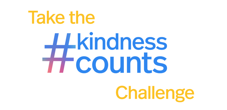 "Image with white background and yellow and blue text that reads: ""Take the hashtag kindness counts challenge."""