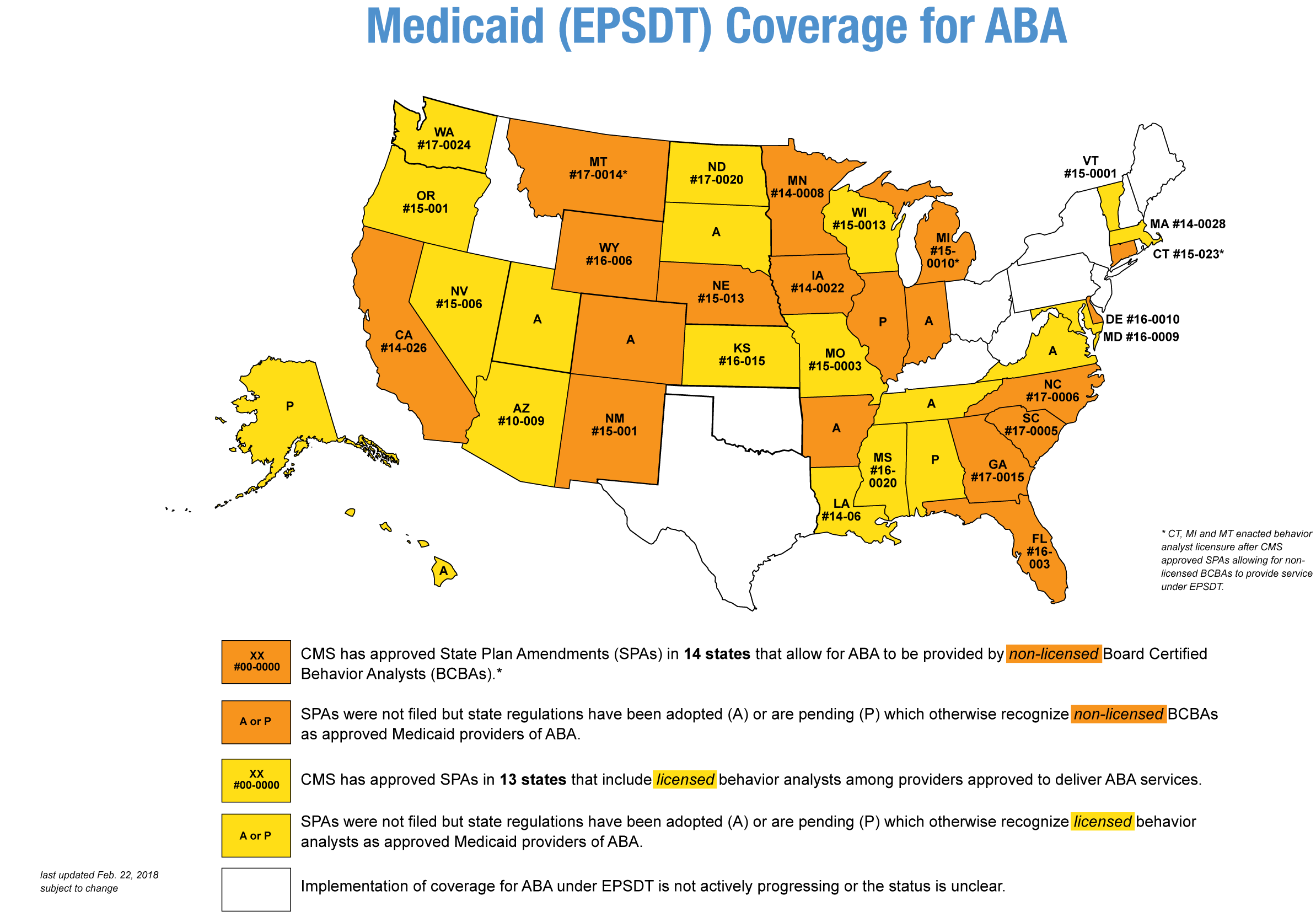 Map of the United States with states color coded and labelled according to EPSDT coverage for ABA
