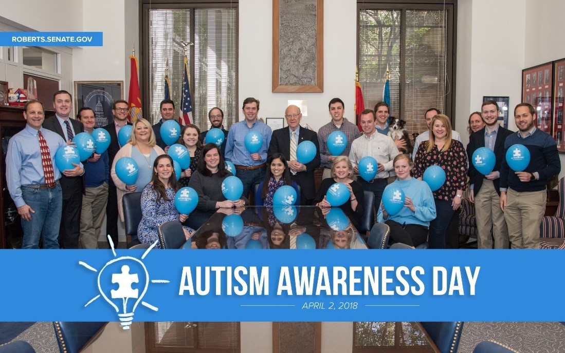 US Senator Patrick Roberts of Kansas and his staff gathered together to support their friends and loved ones with autism.