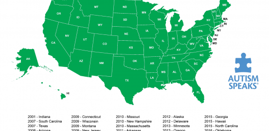 Map of United States with all states shaded green to indicate all 50 states' coverage of autism. States and year of initial reform listed at bottom.