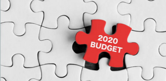 2020 Budget written on a red puzzle piece