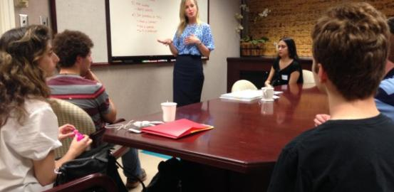 Elizabeth Laugeson, director of the UCLA PEERS Clinic, leads a class for young adults who have autism.