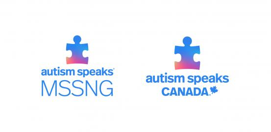 Autism Speaks and Autism Speaks Canada logos, both with multi-colored puzzle piece.