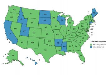 Map of Unites States with states labelled in blue and green according to if an ABLE bill is signed and an ABLE program is open.