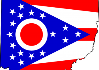 Ohio state flag in shape of the state of Ohio