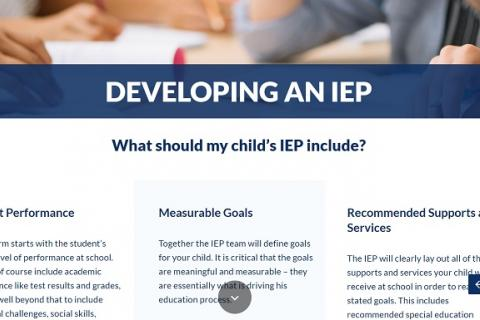 Developing an IEP screenshot
