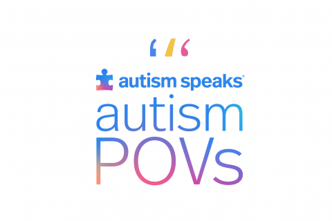 multicolored logo for Autism POVs podcast