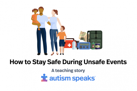"Cartoon family with emergency supplies next to them with the words, ""How to stay safe during unsafe events: A teaching story"" below them as well as the Autism Speaks logo."