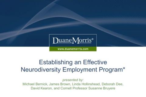 Establishing an effective neurodiversity employment program, presented by Duane Morris