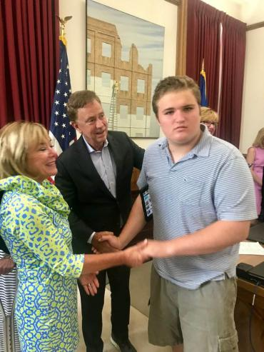 Gov. Lamont with self-advocate Ben Borre